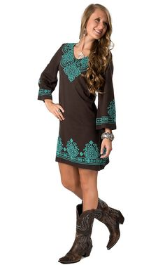 Pink Cattlelac® Women's Brown & Turquoise Screenprint Embroidery V-Neck 3/4 Sleeves Dress | Cavender's Boot City