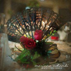centro de mesa para boda estilo flamenco