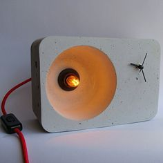 Bedside lamp with clock Tic-tac Original Handcrafted Night Table Lamp Clock Concrete Concrete Light, Concrete Lamp, Polished Concrete, Beton Design, Concrete Design, Concrete Crafts, Concrete Projects, Concrete Furniture, Plywood Furniture
