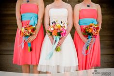 coral and blue bridesmaids