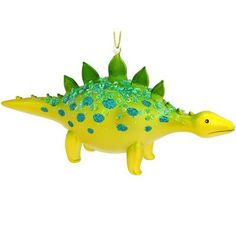Dinosaur Green And Yellow Glass Ornament