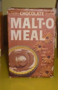 Chocolate Malt-O-Meal Hot Cereal - http://i.ebayimg.com/t/Vintage-old-1960s-Chocolate-Malt-O-Meal-Cereal-Box-sample-New-/00/s/NDQxWDI4NA%3D%3D/%24(KGrHqV,!osF!KqLiObMBQOCJeEYmg~~60_35.JPG
