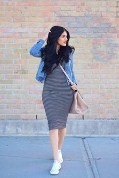 Skinny stripe dress, denim jacket, summer outfit