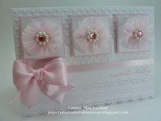 Paper Pleats and Ribbon Roses: Baby Birl Card With Pink Organdy Flowers