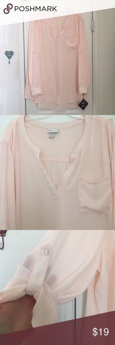 Blush Ava and Viv Blouse! NWT stunning Ava and Viv long sleeve blouse.  Sleeves can be rolled up and buttoned for a 3/4 sleeve ( shown in photos) . 100%Polyester. Ava and Viv Tops Blouses