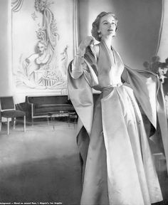 1951 Sunny Harnett in blue lilac and Parma Violet satin halter dress with long stole by Nettie Rosenstein