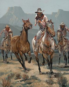 Horse Thieves by Bill Moomey Oil ~ 40 x 33