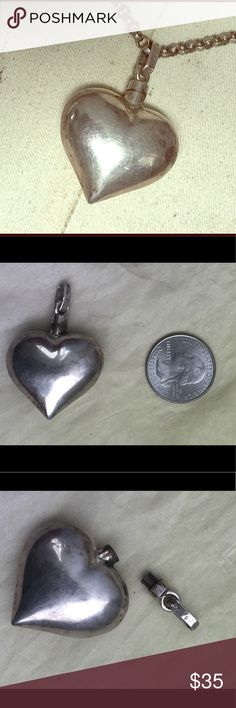 "Cool Sterling Silver Perfume Flask Pendant Nice large size Sterling silver heart Perfume Flask/Pendant.  Large stand out 2"" size. Screw top closure. Signed TR-50 925 Mexico. Very good pre-owned and loved vintage condition however please expect minimal surface scratches.  Please let me know if you would like it shined up otherwise will ship as shown. Vintage Jewelry"