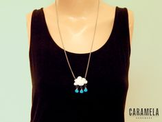 Cloud with rain drops Necklace by CaramelaHandmade on Etsy