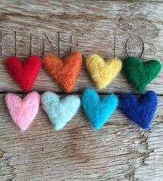 Mini Bright Felted Wool Hearts 8-Pack