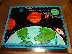 Outer space cake Planets, earth, rocket, spaceship - Erin Miller Cakes - https://www.facebook.com/erinmillercakes
