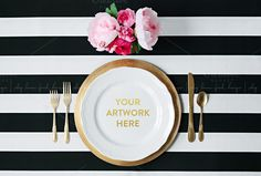 Check out Black and White Styled Place Setting by shoplemonfresh on Creative Market