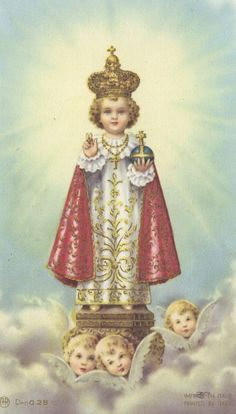 Catholic Holy Card, The Infant of Prague. My Mom had a statue......still does, in her bedroom. I would just stand and look at the details of it as a kid. She kept a dime under it so that if the family ran out of money, somehow, that money would save us.
