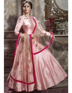PalkhiFashion Exclusive Full Flair Pink Silk Outfit with Elegant Work and Duppata. Anarkali Dress, Pakistani Dresses, Indian Dresses, Indian Outfits, White Anarkali, Anarkali Suits, Ethnic Fashion, Indian Fashion, Women's Fashion