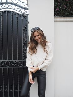 Chic street styling with the Nadia Jumper and Penelope Pants. Forever New, Smock Dress, Signature Style, Dress Outfits, Dresses, True Beauty, Vegan Leather, Jumper, Leather Skirt