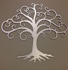Tree of Life industrial metal wall art in silver 24""