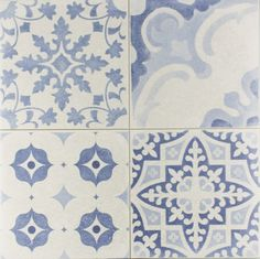 Skyros Delft Blue Wall and Floor Tile Roomset from Tile Mountain... I love the washed out print...