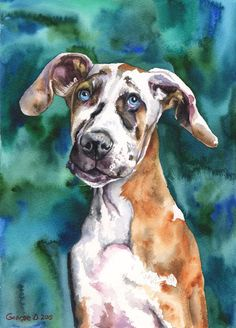 My name is George Dyachenko. I am professional artist from Russia. I love and admire the entire animal kingdom! Its big pleasure for Dog Paintings, Original Paintings, Art Mignon, Dog Artwork, Great Dane Puppy, Dog Portraits, Cartoon Art, Animal Kingdom, Les Oeuvres