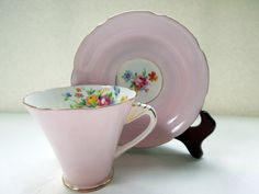 Art Deco Cup Saucer Set Pale Pink Royal Grafton by Passion4Europe