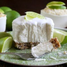 Key Lime Cheesecake w Coconut Cream Topping...raw, vegan, gluten-free, dairy-free, paleo-friendly, no-bake and no refined sugar!