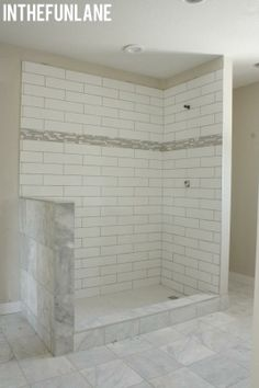 Bathroom Tiles To Ceiling love! note tiles do not go to ceiling, allowing for wall color and