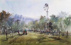 """Shang Li, """"Spring at Rancho Bernardo  Winery"""". 15"""" x 22"""""""