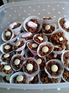 Chocolate Rice Crispy Cakes With Candy Shrimps White Onini Pink And