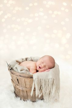 basket and lights... Beautiful baby pic!! <3