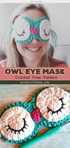 Crochet Owl Eye Mask Free Pattern is a super useful and quick project. It will help you to get a better sleep whether traveling, or just want total darkness. Crochet Mask, Crochet Eyes, Crochet Gifts, Owl Crochet Pattern Free, Free Pattern, Quick Crochet, Free Crochet, Crochet Projects To Sell, Selling Crochet
