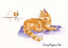 "https://flic.kr/p/CcUBSE | A Winter's Tale | This marmalade cat gets a cheeky greeting from a cock-y robin...  I am a Kent artist and enjoy watching my pets and other beasties, and try to capture their antics in paint.   Similar Original Watercolours available via ebay as 'greypepper71' .   ""http://greypepperart.artistwebsites.com   Fine Art England: Debra Hall   ""https://www.facebook.com/ GreyPepperArt"" (please like!)"