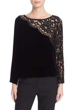 Tracy Reese makes a basic tee silhouette worthy of evening wear by using lush, silk-softened velvet with delicate lace veiling one side. Tracy Reese, Blouse Styles, Blouse Designs, Blouse Dress, Lace Dress, Dress Shoes, Shoes Heels, Diy Clothes, Clothes For Women