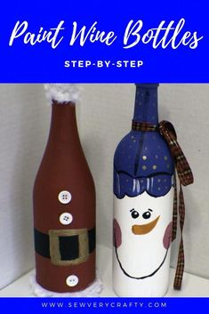 Learn to paint holiday wine bottles with this easy step-by-step tutorial. Just a wine bottle and some paint will make these cute Christmas wine bottles and you actually get to drink the wine. Anyone can paint these adorable bottles even kids. Liquor Bottle Crafts, Wine Bottle Art, Painted Wine Bottles, Glass Bottle, Beer Bottle, Christmas Wine Bottles, Bottle Painting, Repurpose, Christmas Projects