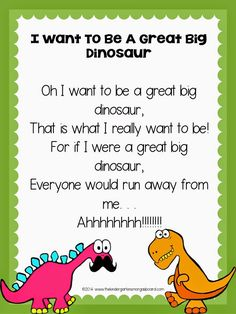 Dinosaur poem is perfect for a dinosaur unit or dinosaur theme. Great for building reading fluency!Dinosaur poem is perfect for a dinosaur unit or dinosaur theme. Great for building reading fluency! Dinosaur Poem, Dinosaur Theme Preschool, Preschool Music, Preschool Themes, Preschool Classroom, Dinosaur Songs For Kids, Dinosaur Template, Classroom Ideas, Dinosaur Land