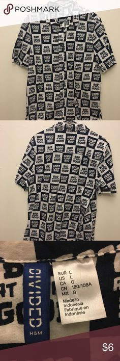 """H&M Black and White Button Up """"Good at Being Bad; Bad at Being Good"""" H&M Black and White Button Up - bought new H&M Tops Button Down Shirts"""
