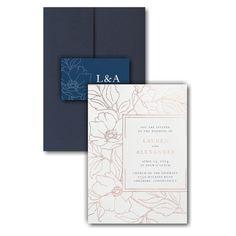 Vivid Floral Outlines Pocket Wedding Invitation Icon Online Fonts, Pocket Wedding Invitations, Matching Cards, Rose Gold Foil, Response Cards, Foil Stamping, Outlines, White Ink, White Envelopes