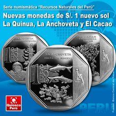 Nuevas monedas de S/. 1 sol alusivas a La Quinua, El Cacao y La Anchoveta El Banco Central de Reserva (BCR) sacó al mercado un nuevo diseño de moneda