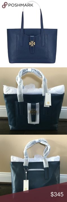 """✨NWT✨ Tory Burch Meyer Plaque Navy Leather Tote NWT! Authentic Tory Burch Meyer Plaque Tote in Navy leather. Gold hardware. Zip closure. Interior has zip and flat pockets. Exterior has front flat pocket. 18""""x5""""x12"""". ***No Trades*** Tory Burch Bags Totes"""