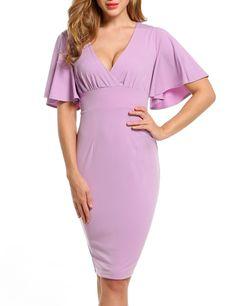 Purple Women Sexy V Neck Back Lace Up Bandage Flare Sleeve Slim Party Dresses