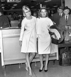 Brigitte Bardot Jeanne Moreau at Orly Airport in Paris, 1965, via AFP/Getty Images