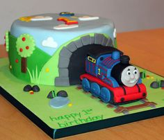 Here is a Thomas the Tank Engine birthday cake made for a little boy's first birthday.