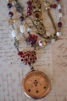 GLORIOUS assemblage vintage gemstone locket necklace deep reds mother of pearl vintage beads by Purrrls on Etsy