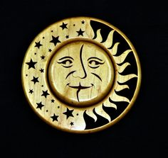 Wall Plaque Sun N Moon by UniqueWoodTreasures on Etsy