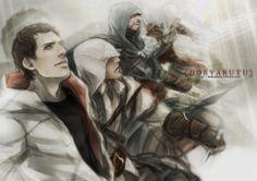 Assassin's Creed - Desmond, Altaïr, Ezio and Connor Assassin's Creed Desmond, Assassins Creed Comic, Assassin's Creed Videos, Assassin's Creed Hidden Blade, All Assassin's Creed, Infamous Second Son, Nerd Herd, Cool Cartoons, Game Art
