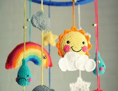 Get out your crochet hook to DIY this baby mobile.
