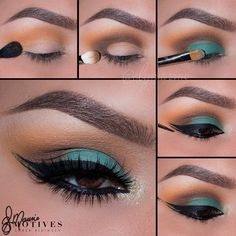 """Beautiful green look by @elymarino 1.Begin by applying """"Heat Wave"""" slightly above the crease 2.Using """"Tiramisu"""" apply I'm a """"C"""" shape to the outer corner of the eyes and sweeping it into the crease 3.Taking """"Stylee"""" Pat onto the lid 4.Line the top and lower lash line using """"LBD"""" gel liner 5.Using Motives glitter glue mix with """"Pot of Gold"""" glitter pot and apply in the outer corner of the eyes between both the top and lower liner! Pat what's left to the inner corner of the eyes…"""