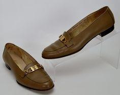 Salvatore Ferragamo Women's Size 6.5 AA Brown Leather Gold Chain Pumps Heels #SalvatoreFerragamo #PumpsClassics #WeartoWork