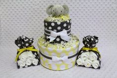 Baby Diaper Cake Mini 2 Tier & 2 Burp Cloth Stork Bundles Elephant via Etsy