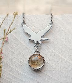 Silver Hawk Pendant Necklace with Garden Quartz Stone, Lodolite Pendant Necklace Handmade In Oxidized Silver, One of a Kind