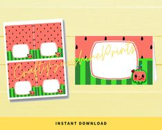 I Party, Party Gifts, Party Ideas, Printable Tags, Printable Stickers, Cubby Name Tags, Dave And Ava, Watermelon Patch, Food Tags