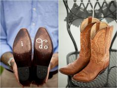 i do stamped on the bottom of cowboy boots, bride's cowboy boots, bridesmaid's cowboy boots, rustic spring blue and green wedding, Lauryn Galloway Photography